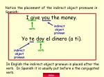 notice the placement of the indirect object pronouns in spanish