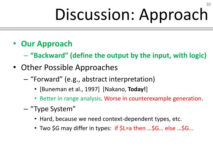 Discussion: Approach