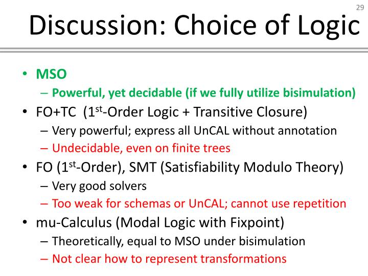 Discussion: Choice of Logic