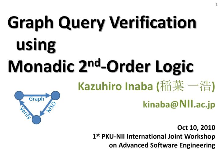 Graph query verification using monadic 2 nd order logic