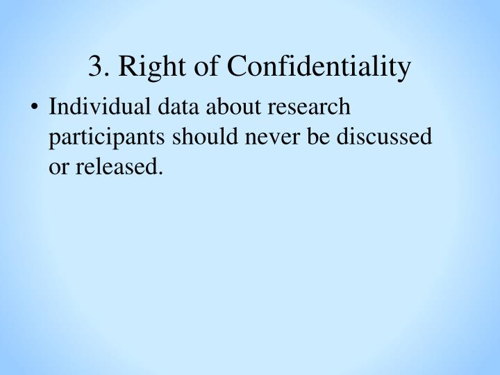 3. Right of Confidentiality