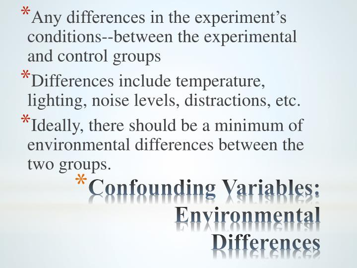 Any differences in the experiment's conditions--between the experimental and control groups