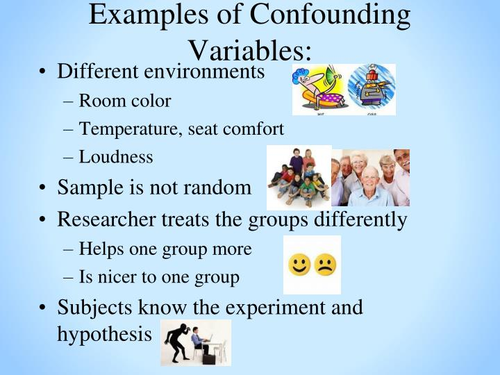 Examples of Confounding Variables: