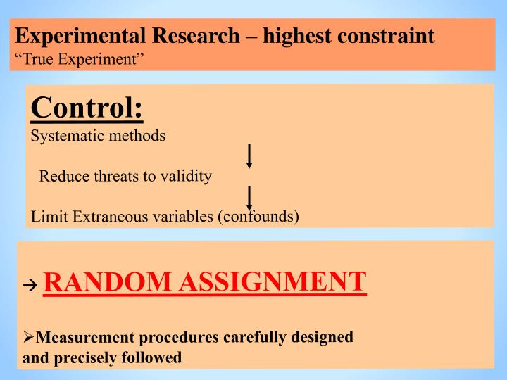 Experimental Research – highest constraint