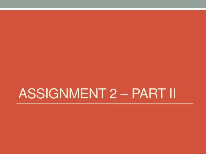 Assignment 2 – Part II