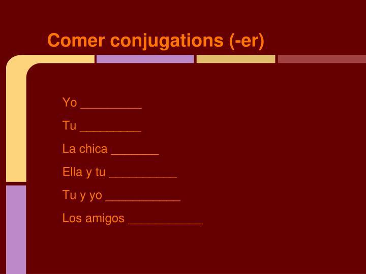 Comer conjugations (-er)