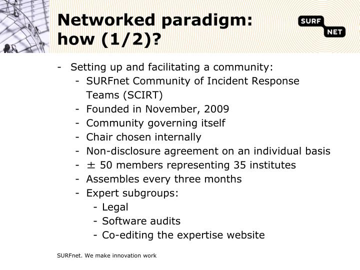 Networked paradigm: how (1/2)?