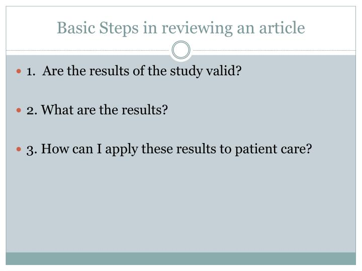 Basic Steps in reviewing an article