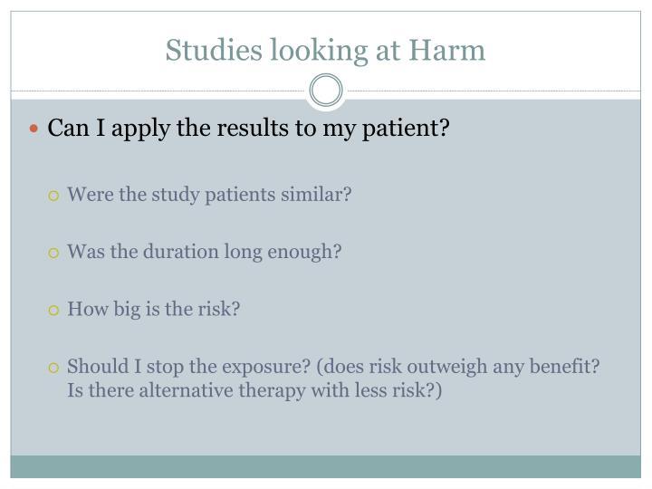 Studies looking at Harm