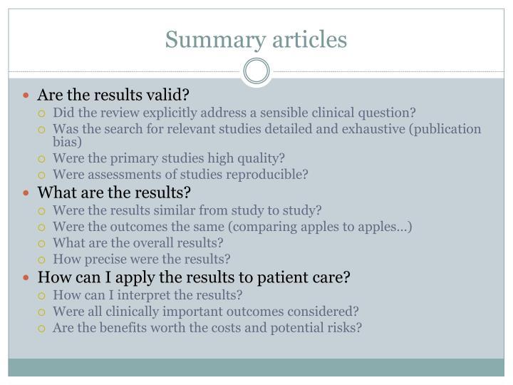 Summary articles