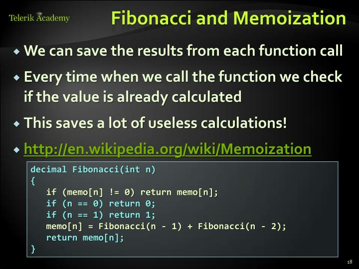 Fibonacci and Memoization