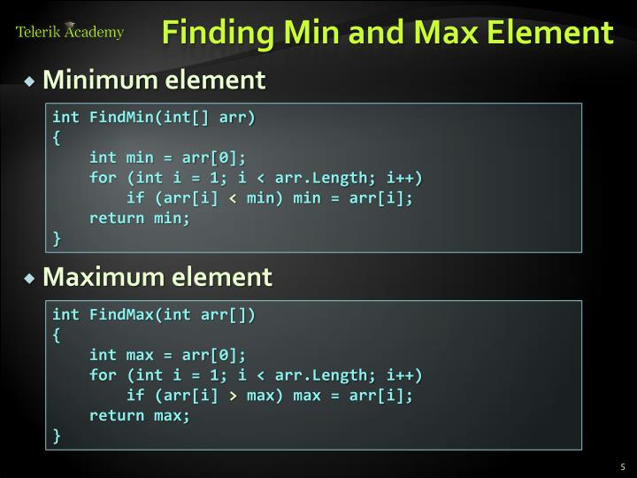 Finding Min and Max Element