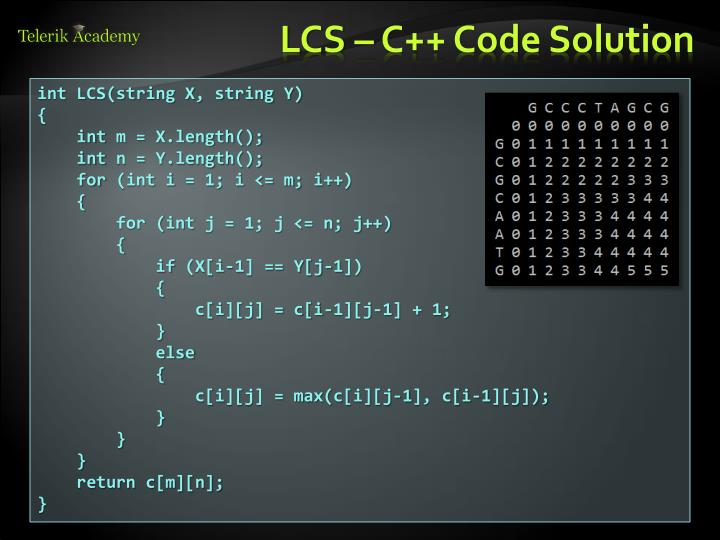 LCS – C++ Code Solution