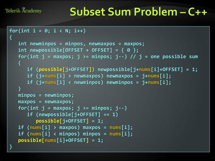 Subset Sum Problem – C++