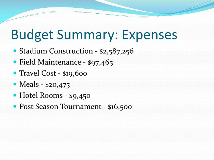 Budget Summary: Expenses