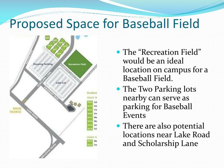 Proposed Space for Baseball Field