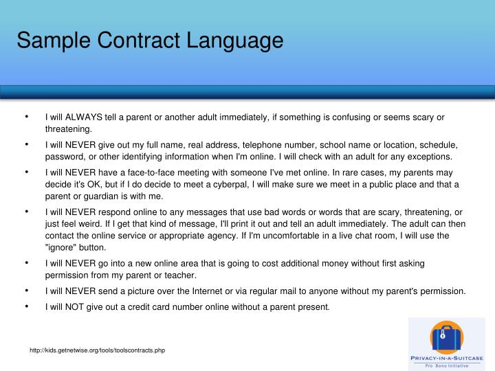 Sample Contract Language