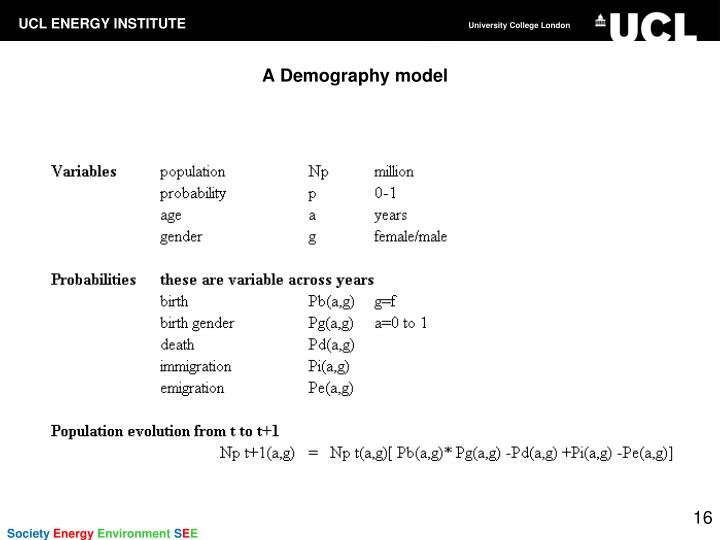 A Demography model