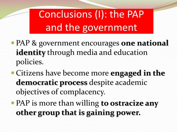 Conclusions (I): the PAP and the government