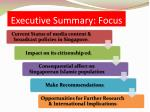 executive summary focus