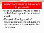 impact on citizenship education singapore i