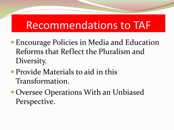 Recommendations to TAF