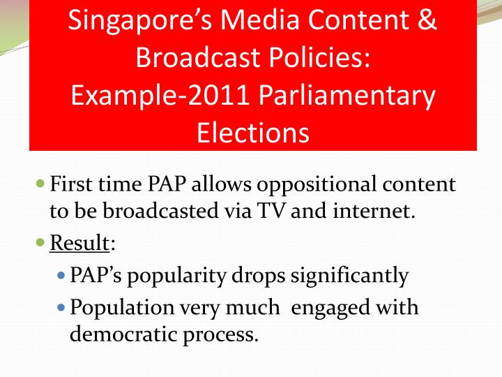 Singapore's Media Content & Broadcast Policies: