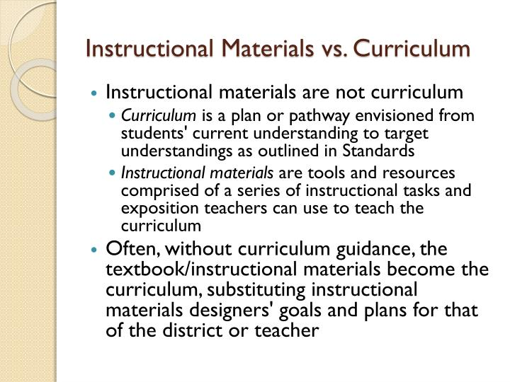 Instructional materials vs curriculum