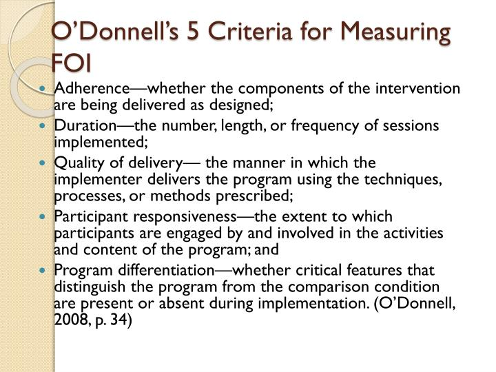 O'Donnell's 5 Criteria for Measuring FOI