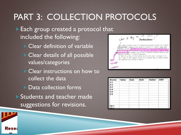 Part 3:  collection protocols