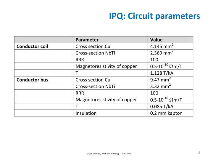 IPQ: Circuit parameters