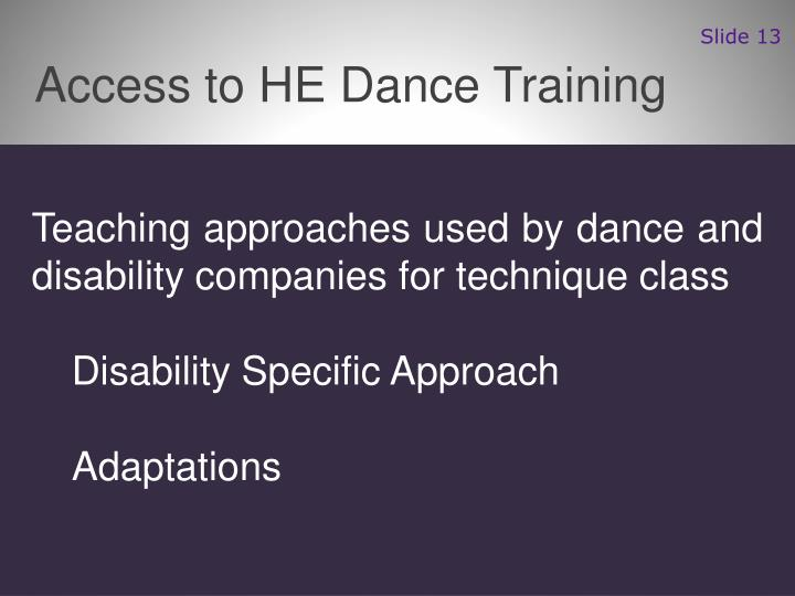 Access to HE Dance