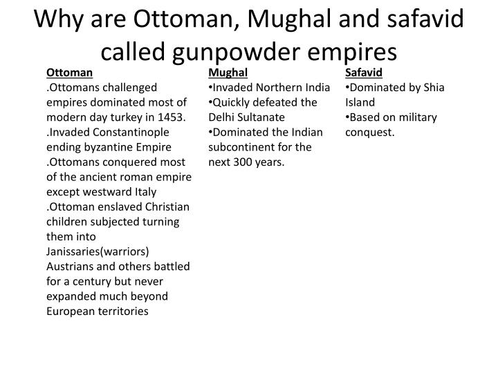 Why are ottoman mughal and safavid called gunpowder empires