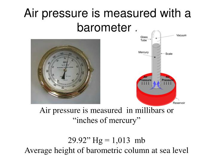Air pressure is measured with a barometer