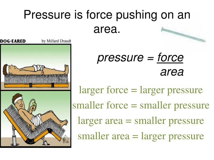 Pressure is force pushing on an area.