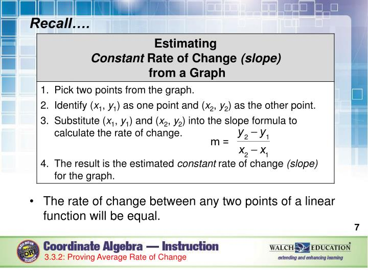 Ppt Lesson 3 4 Constant Rate Of Change Linear Functions