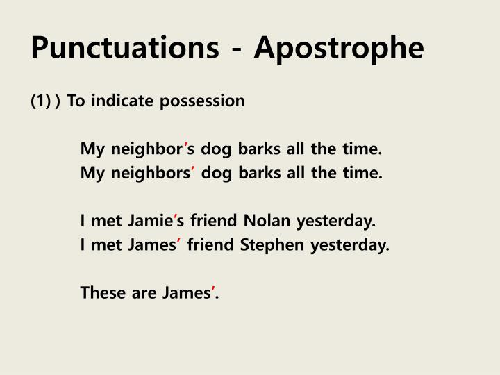 Punctuations - Apostrophe