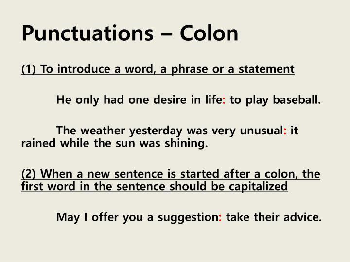 Punctuations – Colon