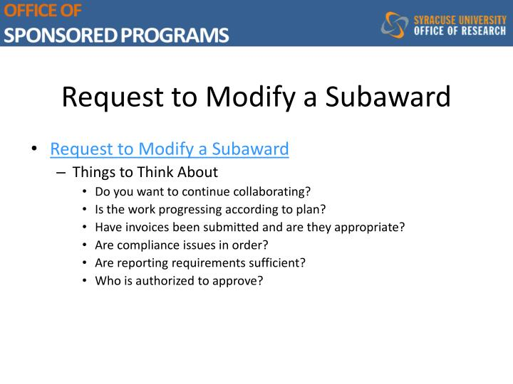Request to Modify a Subaward