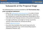 subawards at the proposal stage