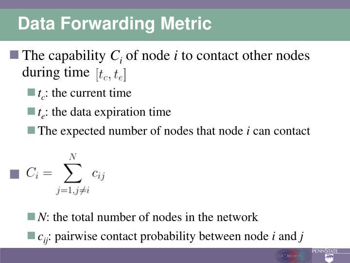 Data Forwarding Metric