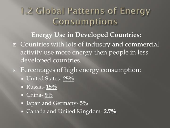 1.2 Global Patterns of Energy Consumptions