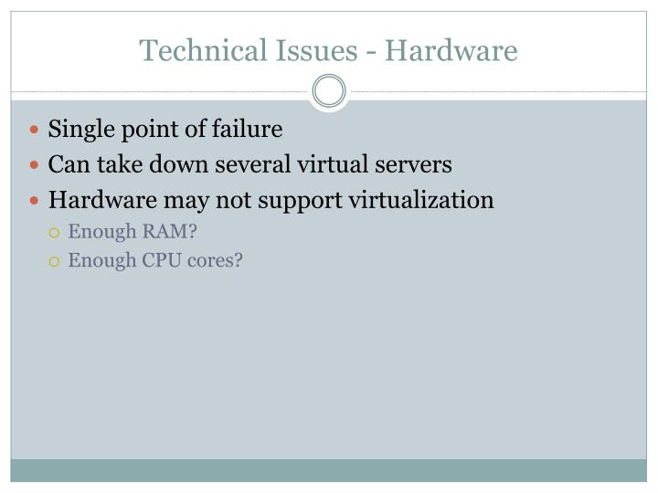 Technical Issues - Hardware