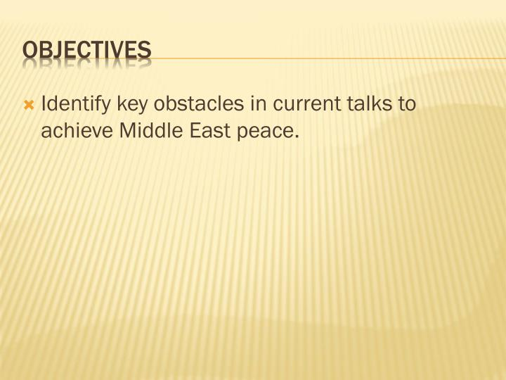 Identify key obstacles in current talks to achieve Middle East peace.
