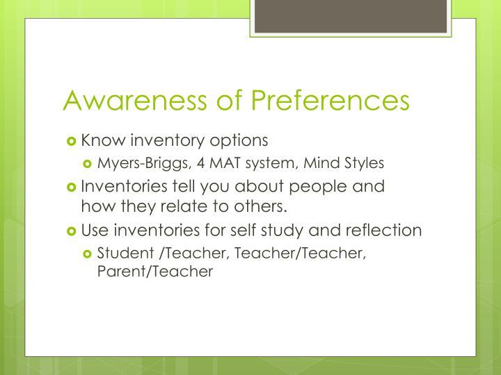 Awareness of Preferences