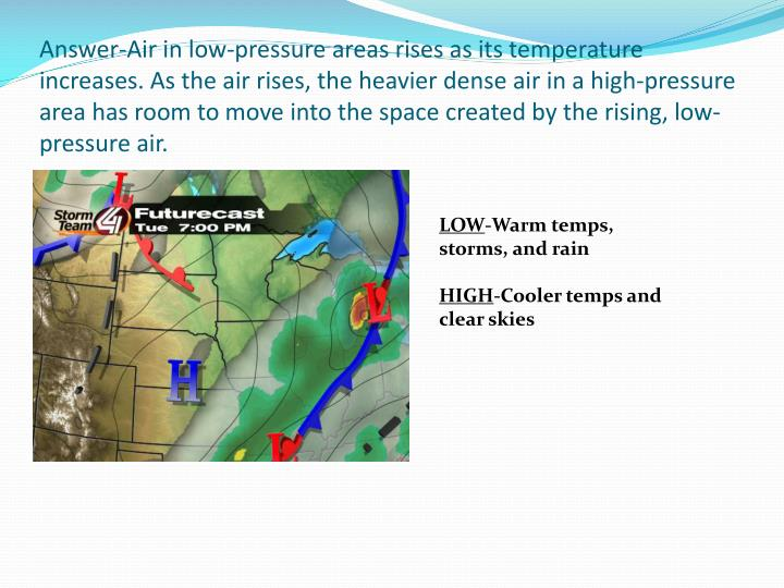 Answer-Air in low-pressure areas rises as its temperature increases. As the air rises, the heavier dense air in a high-pressure area has room to move into the space created by the rising, low-pressure air.
