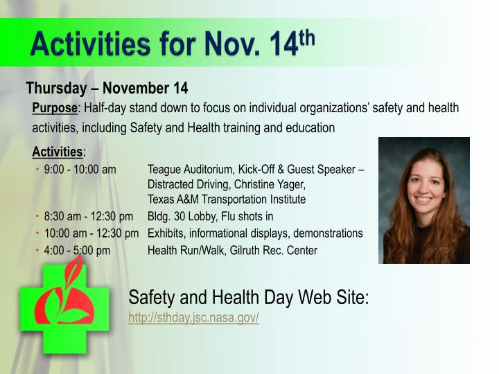 Activities for nov 14 th