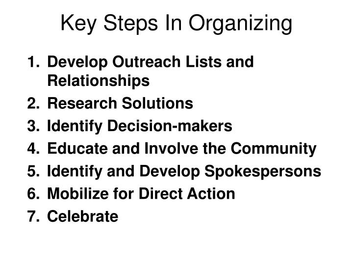 Key Steps In Organizing