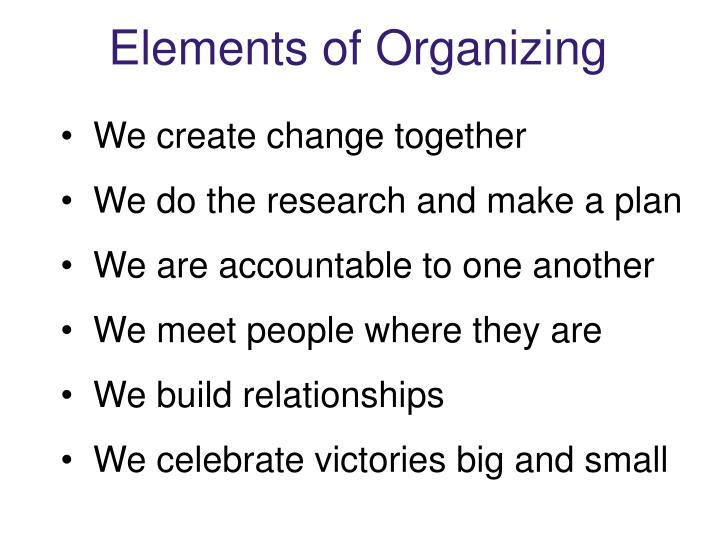 Elements of Organizing