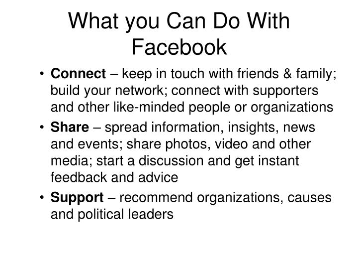 What you Can Do With Facebook